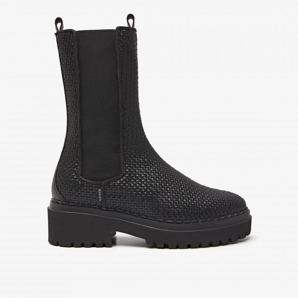 Nubikk Fae Adams Black Woven Chelsea Boots